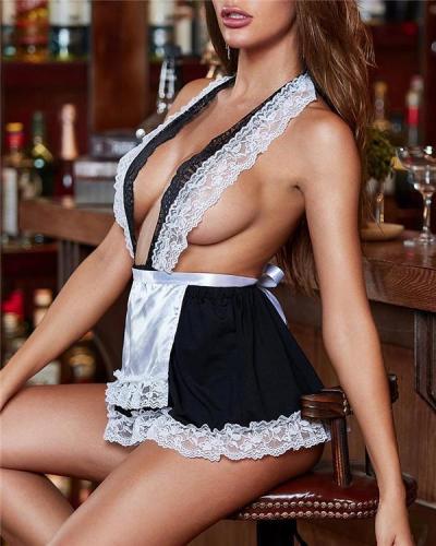 Lace Satin Ruffles Lingeire Custume Maid Set