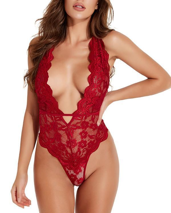 Low Cut Lace Teddy Sexy Lingerie