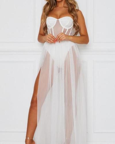 Women Lingerie Dress Gown Babydoll Mesh Sheer Nighwear