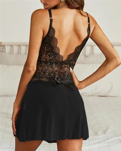V-neck Crochet Lace Backless Dress