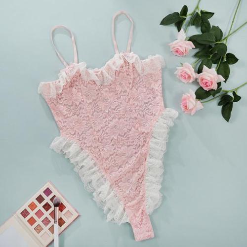 Women Pink Lace bodysuit sexy lingerie