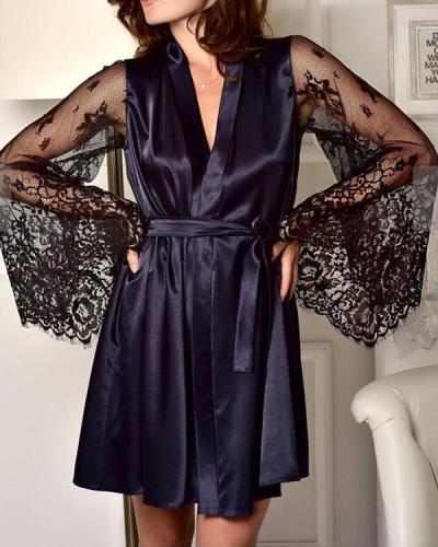 Satin Lace Trim Sleepwear