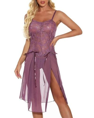 Women's Lace Mesh Split Suits Nightwear