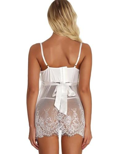 Women's Lace Bow Mesh Suits Nightwear