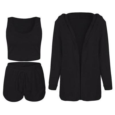 Fashion Casual Long Sleeve V Neck Regular Sleeve Solid Three-piece Set