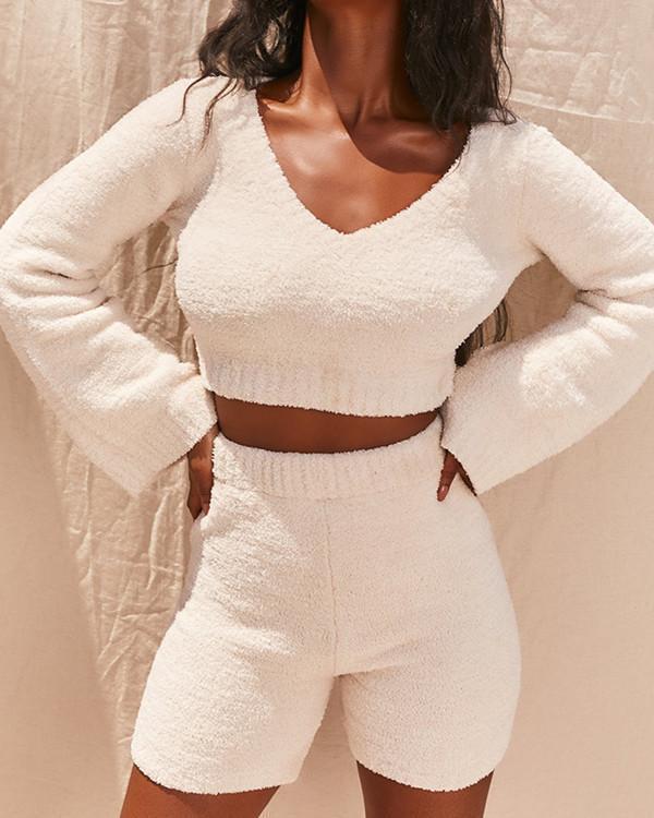 Super Soft Knit Pajamas Homewear Long Sleeve Top+Shorts