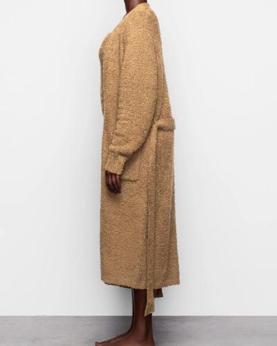 Super Soft Knit Long Bathrobe Pajamas Homewear Coat