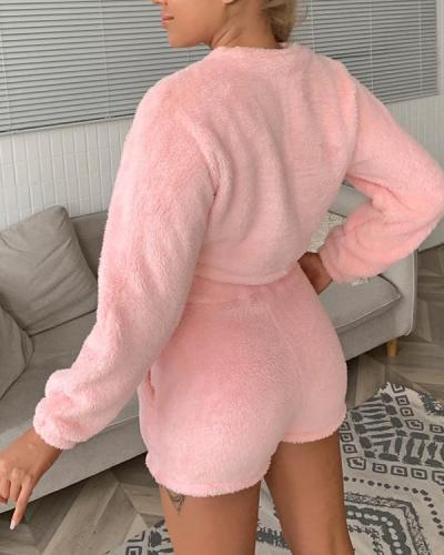 Teddy Pullover and Shorts Set Pajamas Homewear