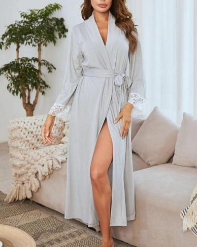 Modal Lace Patchwork Extra large size Long sleeves V-neck Bathrobe