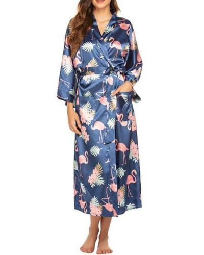 Print Long sleeves V-neck Bathrobe