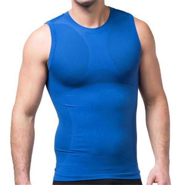 MEN SEAMLESS COMPRESSION UNDERWEAR ELASTIC BREATHABLE WAIST TRAINER VEST