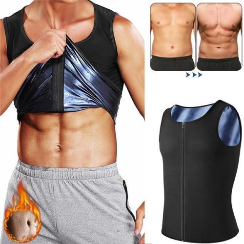 Mens Body Shaper Zipper Sauna Vest Polymer Waist Trainer Sweat Shirt