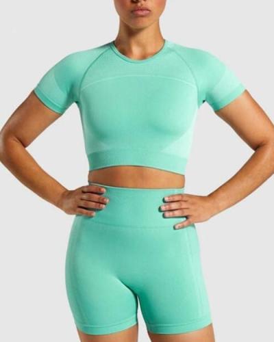 Women Cutout Back Sports Suit Round Neck