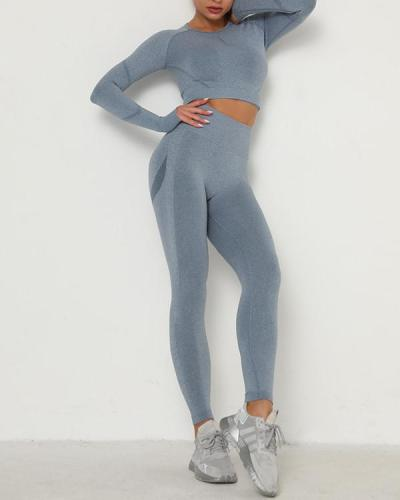 Elastic Round Collar High Rise Sweat Suit Outfit