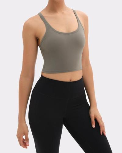 (With Padded)Comfortable Yoga U-Neck  Plain Sports Vest Glamor