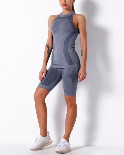 Gym Mesh Breathable Seamless Vest & Shorts Sets