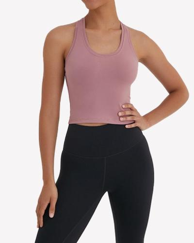 Comfortable Yoga U-Neck  Plain Sports Vest Glamor