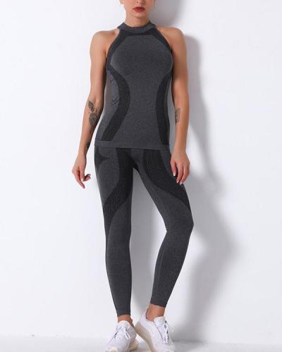 Gym Mesh Breathable Seamless Vest & long Leggings Sets