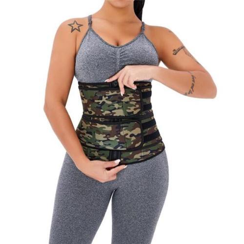 Double Belt Camo Print Latex Waist Trainer Sling-Belt Slimming Stomach
