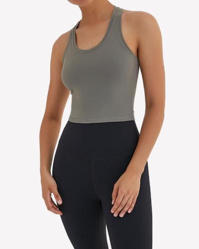 Comfortable Yoga U-Neck  Plain Sports Vest Glamor