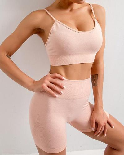 Invigorative Seamless Spaghetti Strap Crop Sports Suit Holiday