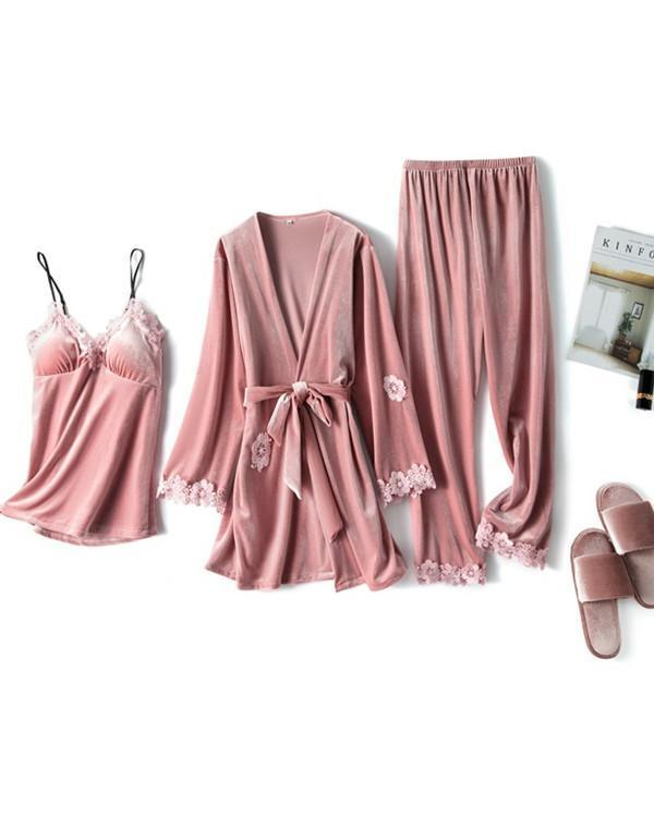 Warm Gold Velvet Pajamas 3 Pcs Suit  Sleepwear