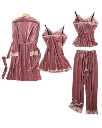 Velvet Lace Trim 4PCS Sleepwear Sets