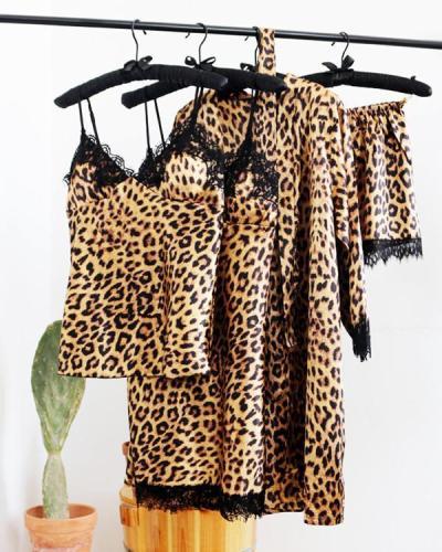 Leopard Print Sexy Ice Silk 4PCS Pajama Set