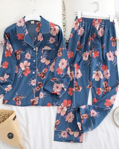 Long Sleeve Pajamas Ice Silk Printing Fashion Sleepwear Set