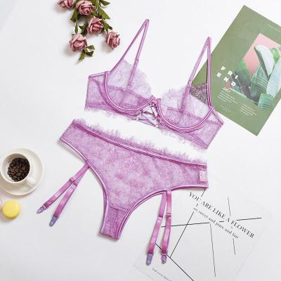 Purple Lace Detail Bralette & Panties Set