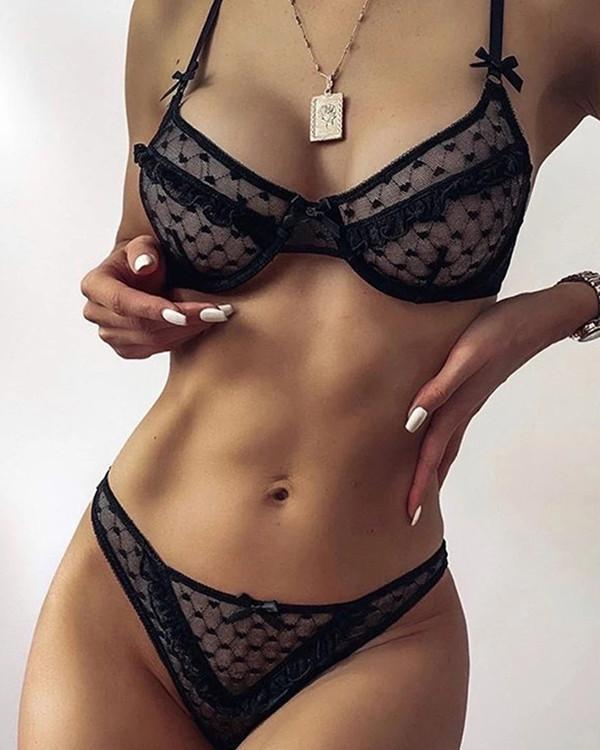 Sexy Lace Detail Bralette & Panties Set