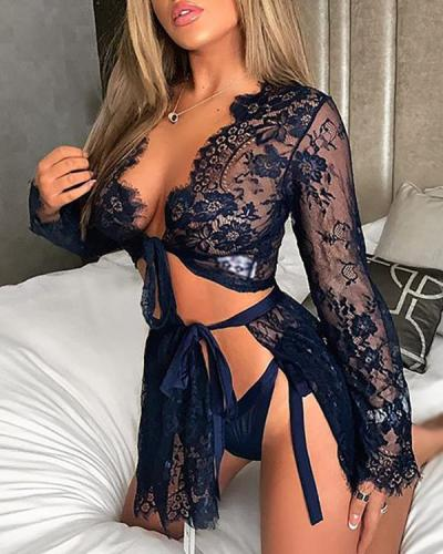 Three Sets of Lace V-neck Long Sexy Nightgown