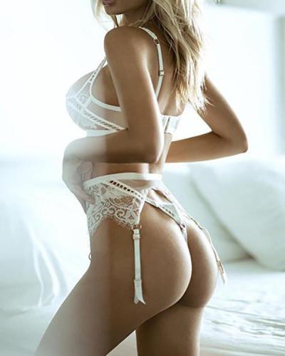White Lace Detail Bralette & Panties Set
