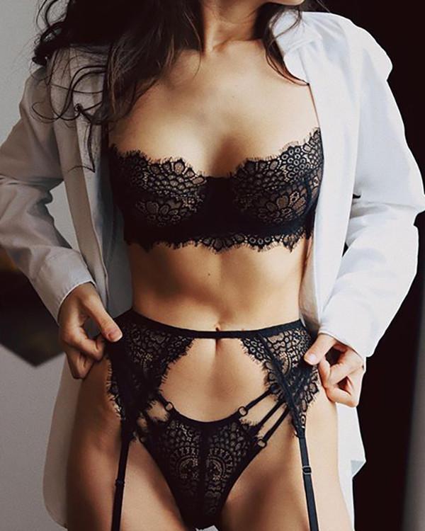 Black Lace Detail Bralette & Panties Set