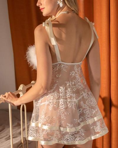 Feather Nightdress Lace Sex Sleepwear
