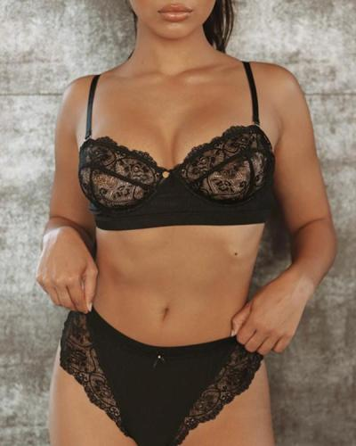 Black Sexy Lace Detail Bralette & Panties Set