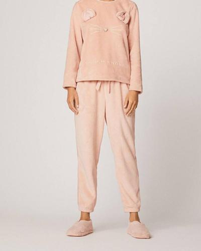 Long Sleeve Soft Cat Pajamas Suit