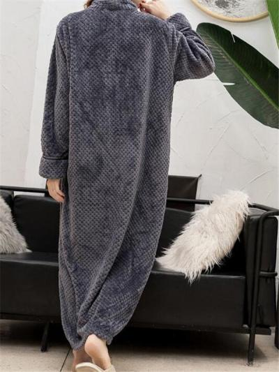 Women Front Zipper Flannels Loose Thick Sleepwear Casual Pajamas Robes
