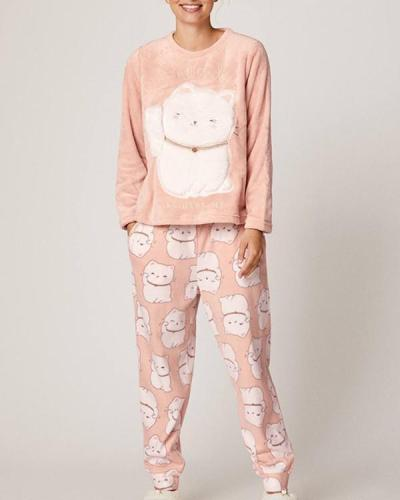 Long Sleeve Soft Cute Cat Pajamas Suit