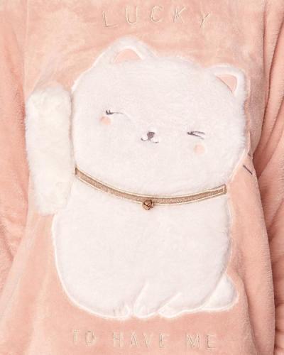 Long Sleeve Soft Cute Cat Pajamas Suit