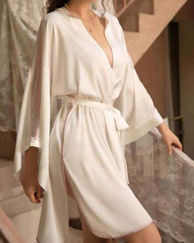 Women Sexy Silk  Robe pajamas Sleepwear