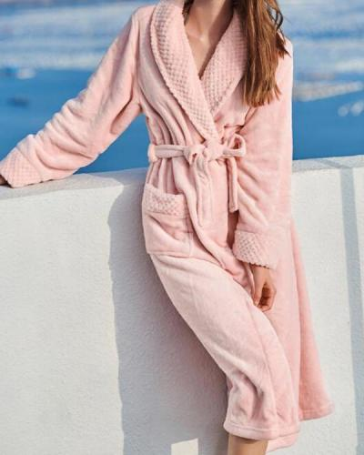 Women Men Thick Sleepwear Casual Pajamas Robes