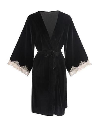 Women Lace V Neck Robe Sleepwear