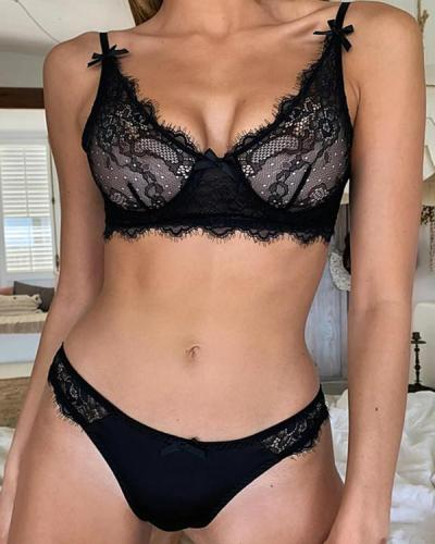 Black Red  Sexy Lace Detail Bralette & Panties Set Lingerie