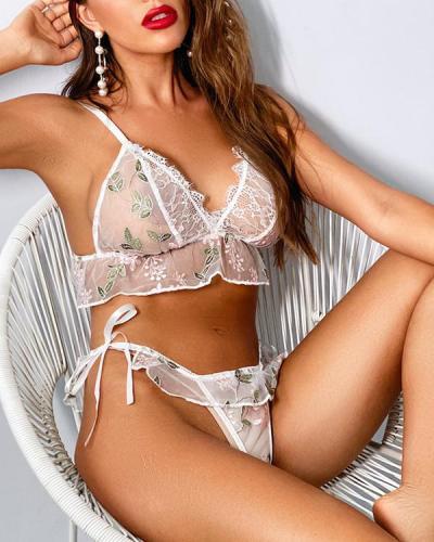 Flower Lace Detail Bralette & Panties Set