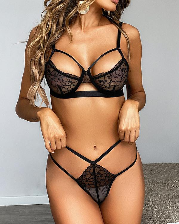 Black Sexy Lace Detail Bralette & Panties Set