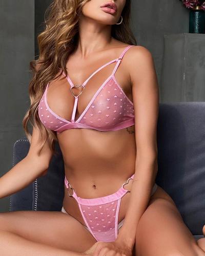 Pink Lace Detail Bralette & Panties Set