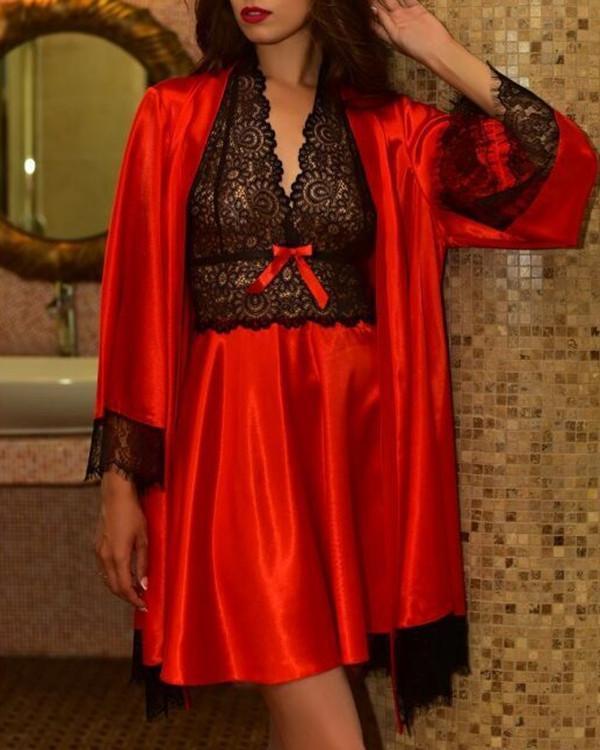 Women Satin Lace Trim Sleepwear