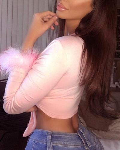 Women's Sexy Fur Long Sleeve Tops Party Lingerie