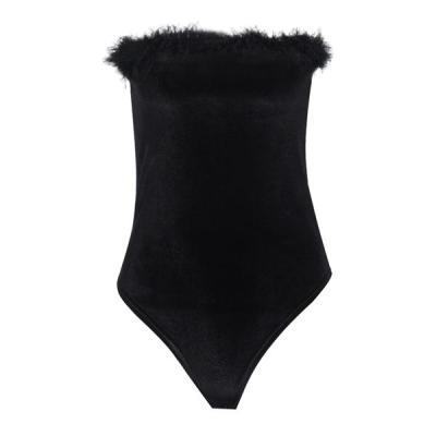 Women's Black Sexy Fur Bodysuit Lingerie